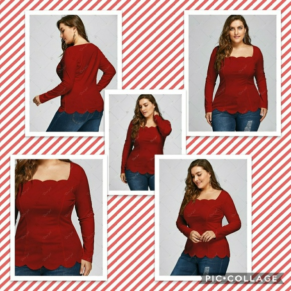 ca59c0cd1d8ba9 Tops | Plus Size Square Neck Scalloped Long Sleeve Top | Poshmark